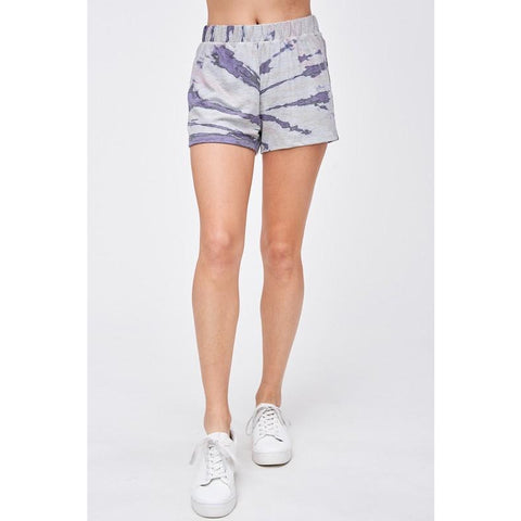Grey and Navy Tie Dyed Lounge Shorts