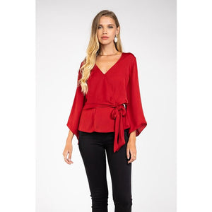 Long Sleeve Front Tie Top in Ruby