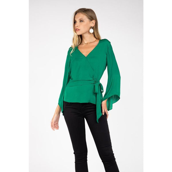 Long Sleeve Front Tie Top in Jewel Green