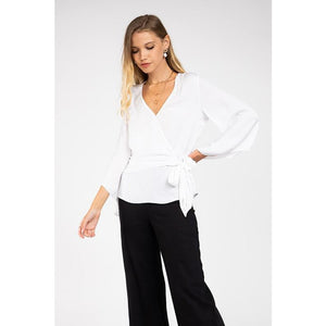 Long Sleeve Front Tie Top in White