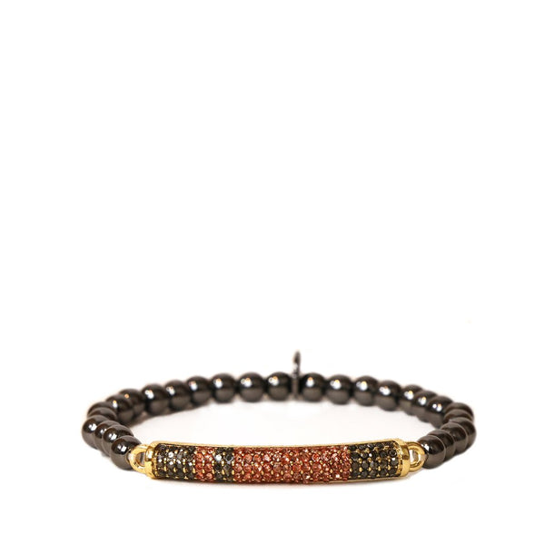 Multi Pave Bar Beaded Bracelet