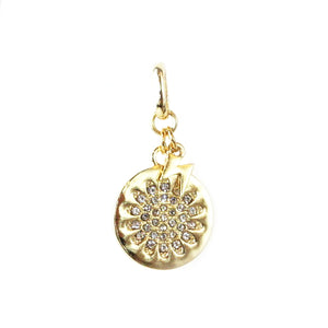 Pave Flower  with Lightening Bolt Charm