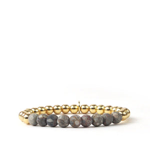 Metal and Natural Stone Beaded Stretch Bracelet