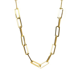 "Gold Tone Large Rectangle Link 16"" Chain Necklace"
