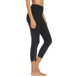 Laced Athletic Yoga Legging in Black