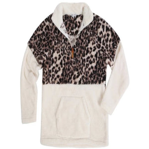 1/4 Zip Two Toned Ivory and Leopard Sherpa