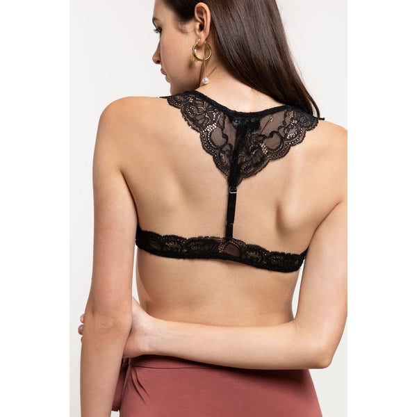 Lace Halter Bralette with Racer Back Strap