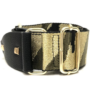 Gold and Olive Metallic Camo Strap With Gold Hardware