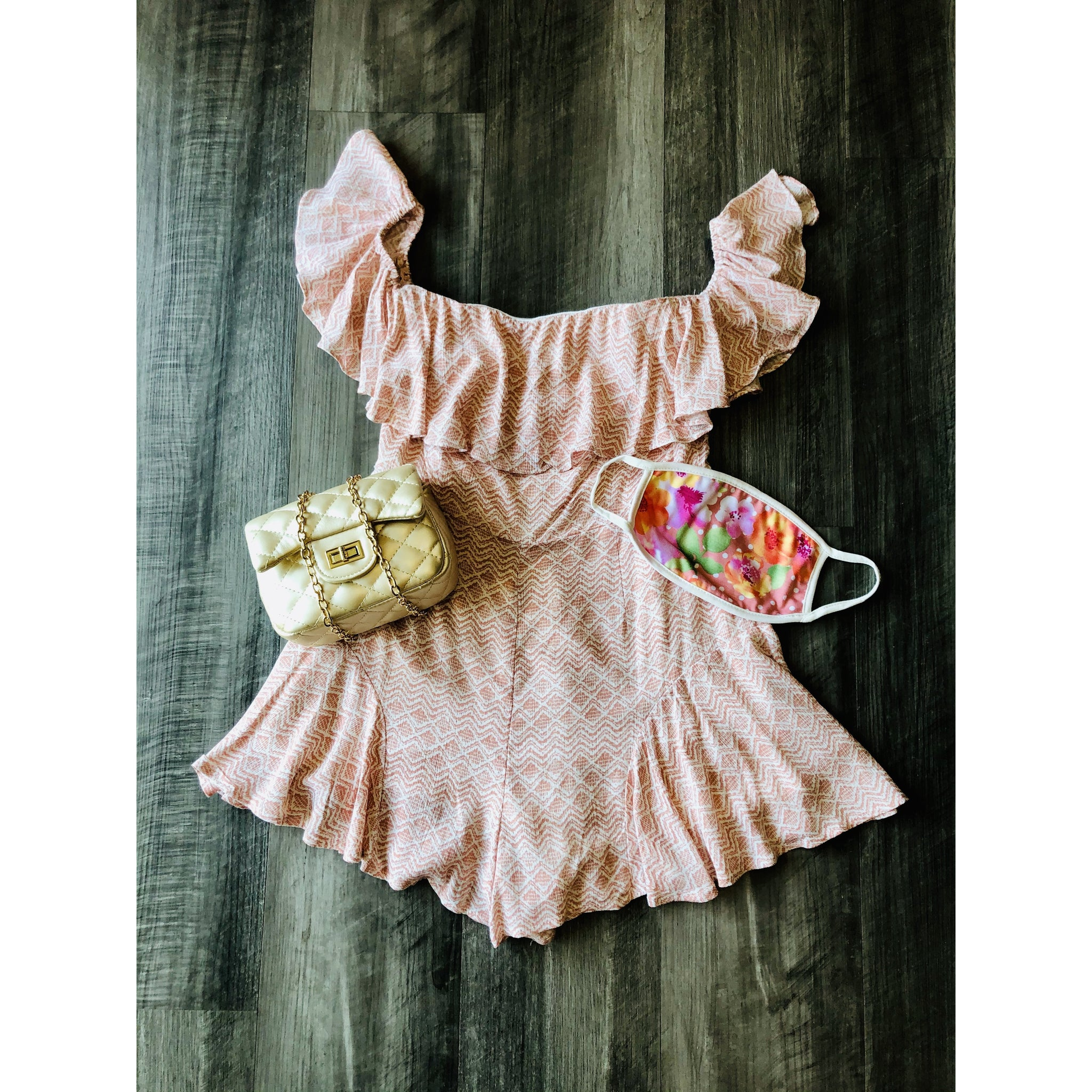 Blush Romper with White Print