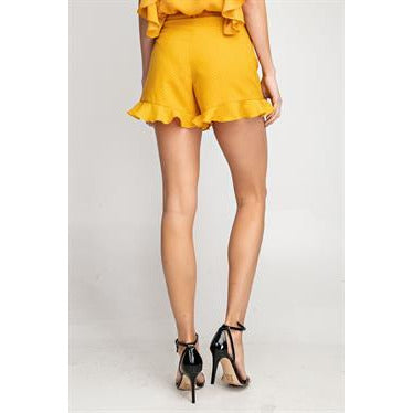 Ruffled Bottom Polka Dot Sweep Shorts in Mango