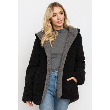 Cozy Reversible Coat in Black/Grey