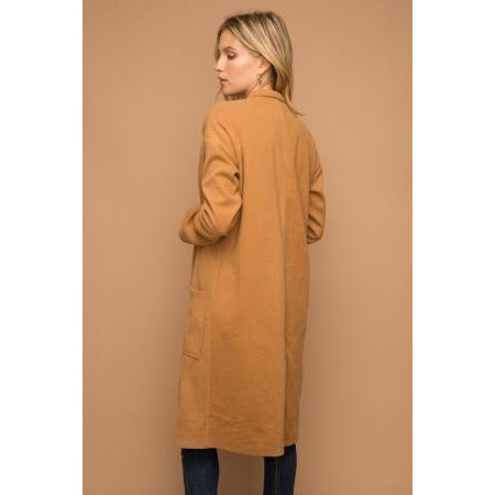 Brushed Felt Textured Oversized Coat in Camel