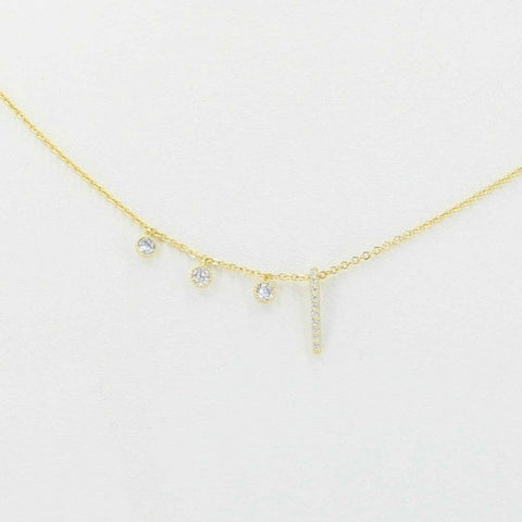 Cubic Zirconia Bar Necklace