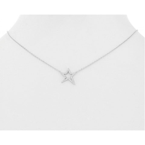 Open Star Pave Necklace
