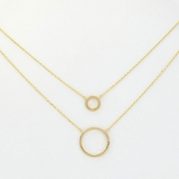 Double Chain Circles Necklace