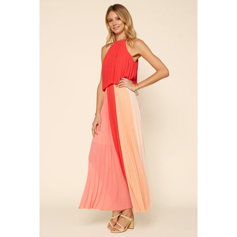 Halter Pleated Color Block Maxi Dress