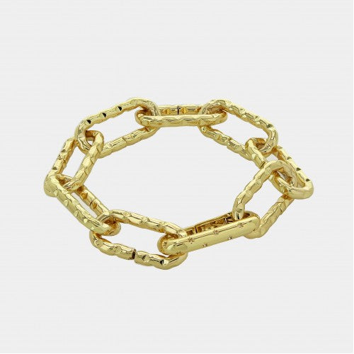 Textured Paperclip Bracelet 18K Gold Plated