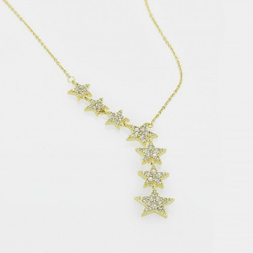 Multi Pave Star Trail Necklace