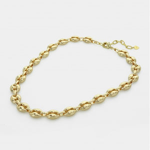 Puffed Gold Chain Link Necklace