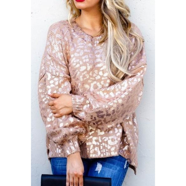 Rose Gold Leopard Embossed Sweater with Balloon Sleeve