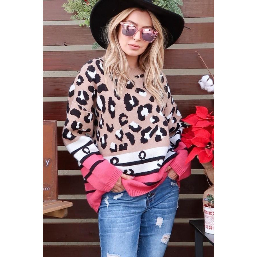 Leopard & Stripe Sweater Top