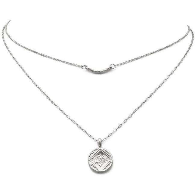 Silver Layered Coin Pendant Necklace
