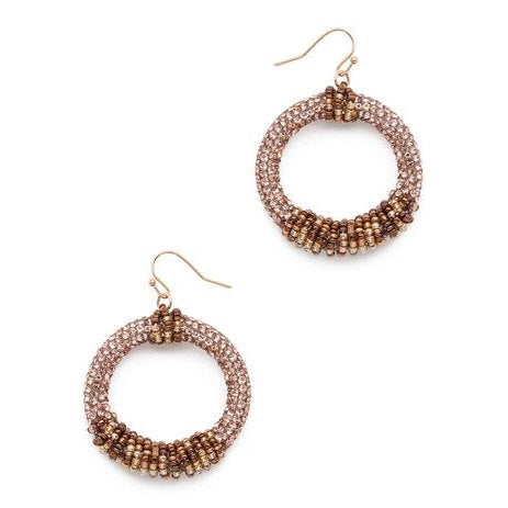 Beaded Hoop Metallic Gold Toned Earrings