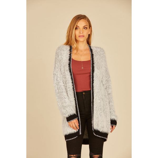 Mohair Cardigan in Grey with Black Contrast Detail