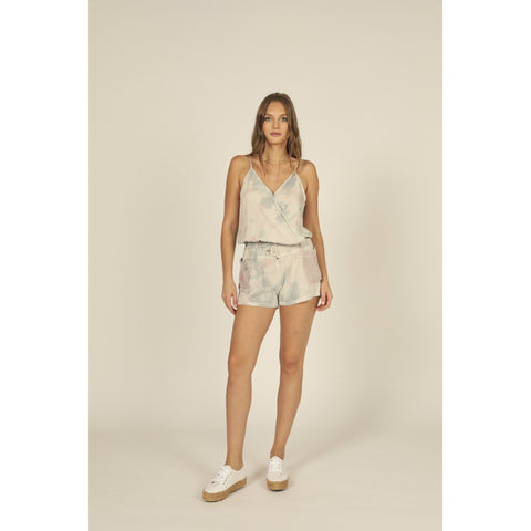 Soft Grey/Pink Tie Dye Tencel Mesh Pocket Romper
