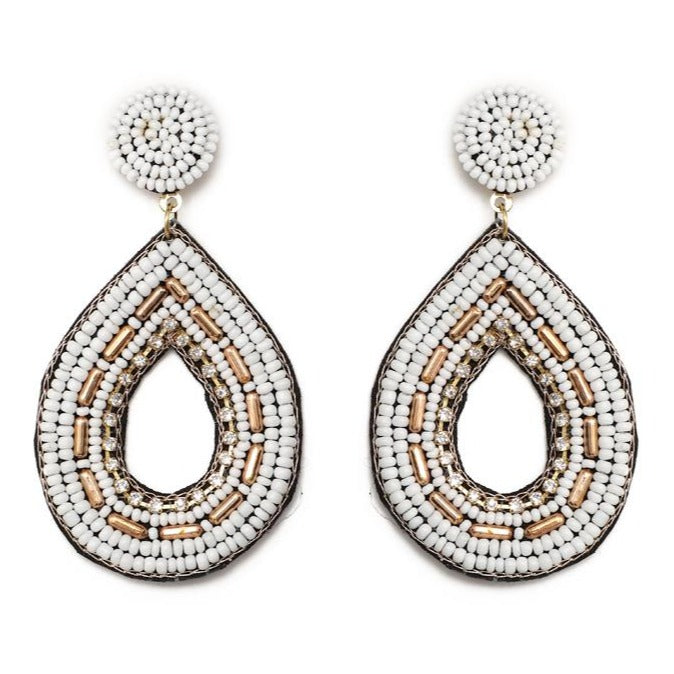 White and Gold Seed Bead Statement Earrings