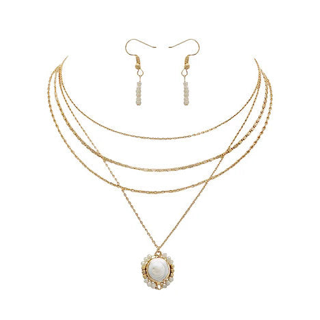 Gold Tone Layered Necklace with Freshwater Pearl Pendant