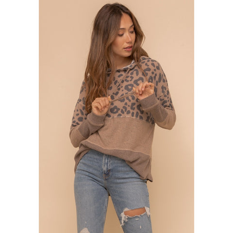 Soft Spun Mixed Fabric Hoodie with Leopard Details