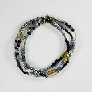 Black, Grey and Gold Beaded Bracelet