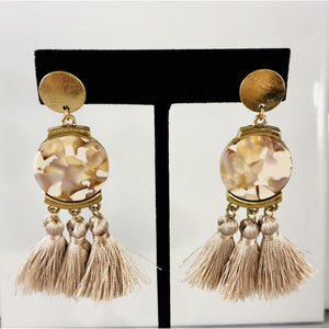 Blush Celluloid and Tassel Earring