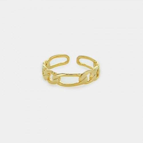 Adjustible Narrow Figaro Link Design Ring