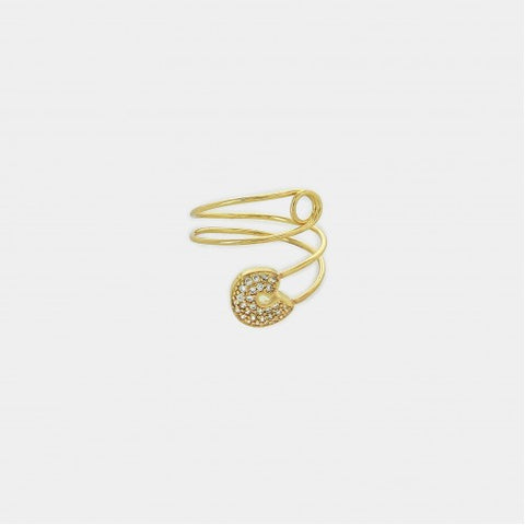 Gold Tone Twisted Safety Pin Ring