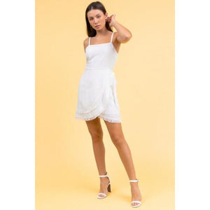 Asymmetrical Layered Mini Dress in White