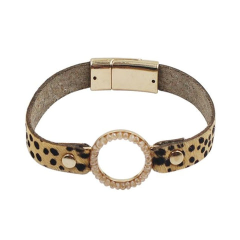 Leather Bracelet with Small Cheetah Print