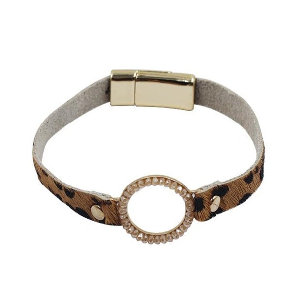 Leather Bracelet with Leopard Print in Tan and Black