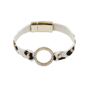 Leather Bracelet with Leopard Print in White, Tan and Black