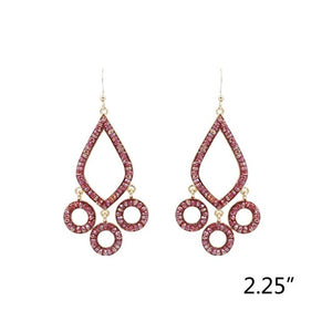 Chandelier Red Glass Beaded Earrings