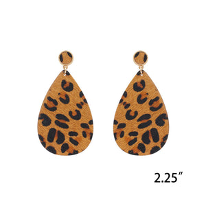 Leather Tan Leopard Teardrop Earrings
