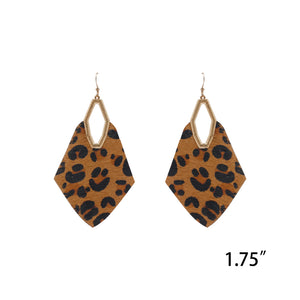Leather Tan Leopard Statement Earrings
