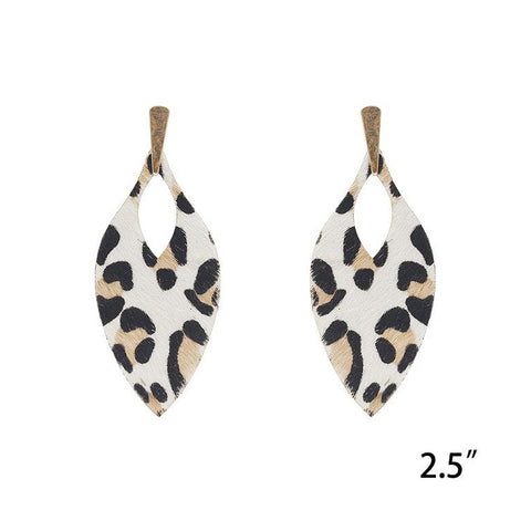 Leather White, Tan and Black Leopard Statement Earrings