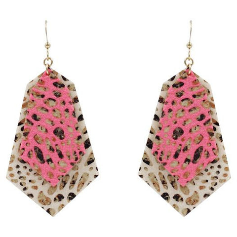Neon and Cheetah Print Layered Earrings