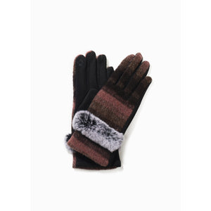 Fur Trimmed Brushed Ombre Gloves