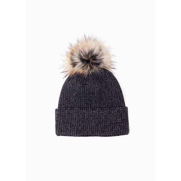 Cashmere Blended Heather PomPom Hat Black