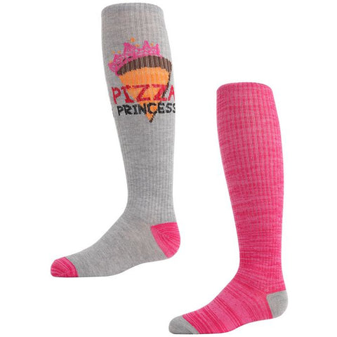 Pizza Princess Girls 2 Pair Knee High Sock Set