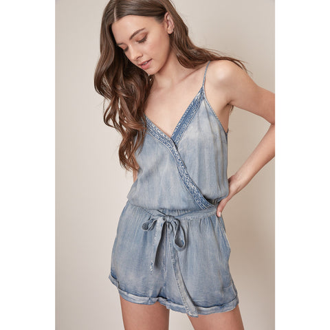 Washed Denim Romper with Spaghetti Straps