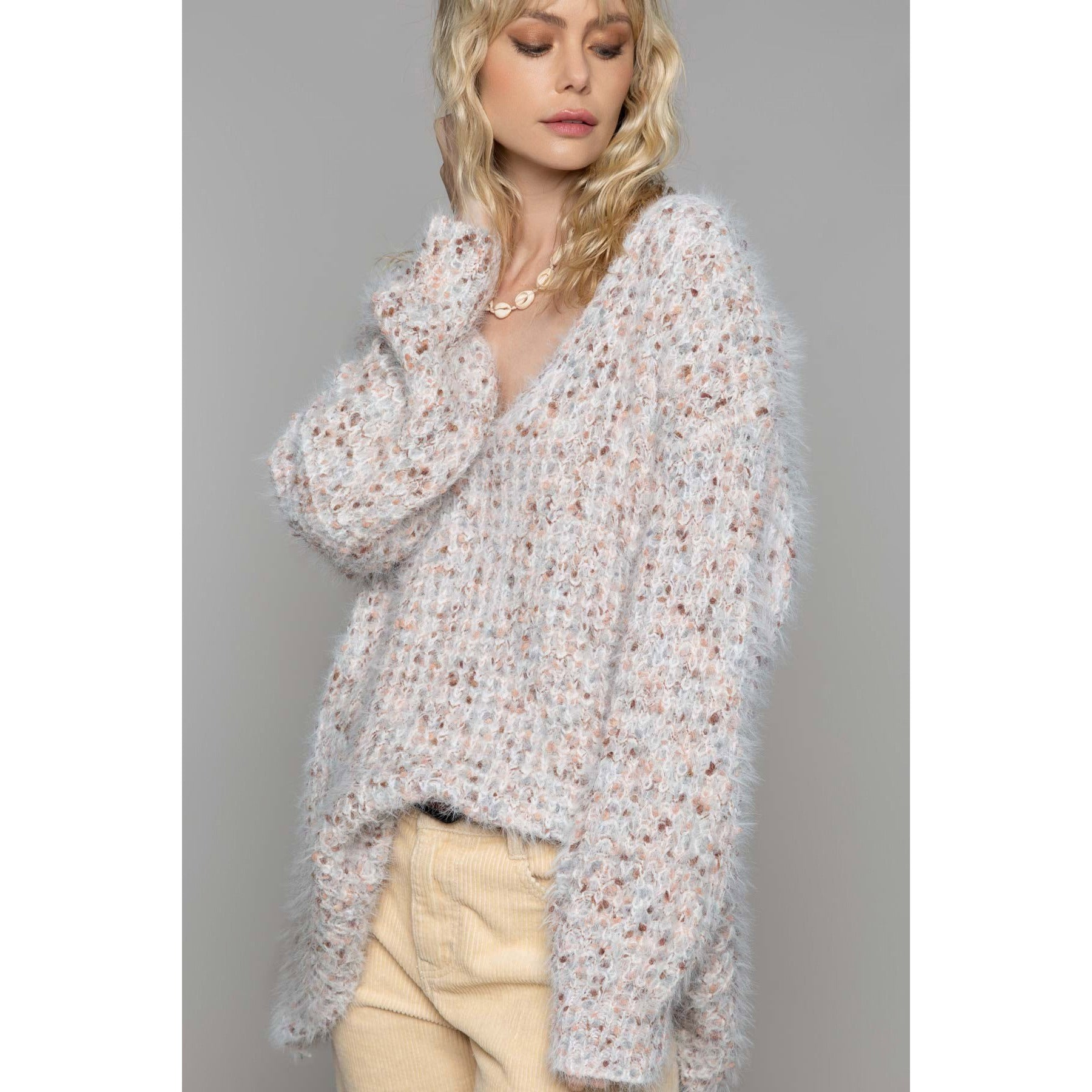 White Mohair Sweater with Multi color Confetti Dots in Hues of Rose and Grey